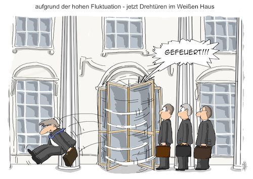 Cartoon: Drehtüren (medium) by pierre-cda tagged trump,donald,rex,tillerson,außenminister,usa,white,house,weißes,haus,gefeuert,personalwechsel,präsident,vereinigte,staaten,us