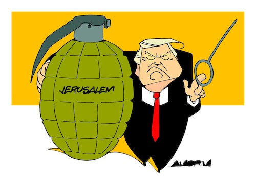 Cartoon: Hand grenade pin... (medium) by Amorim tagged trump,jerusalem