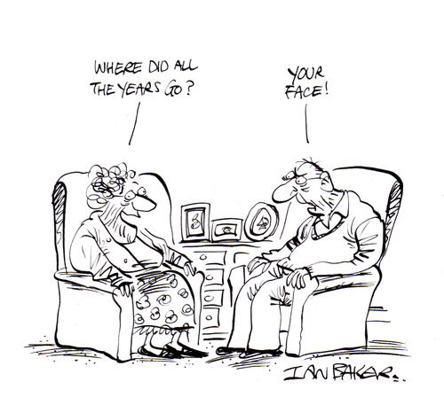 Cartoon: Getting old (medium) by Ian Baker tagged ian,baker,gag,cartoon,humour,comedy,satire,private,eye,couple,old,age,ageing,argument,looks,face,sitting,chairs