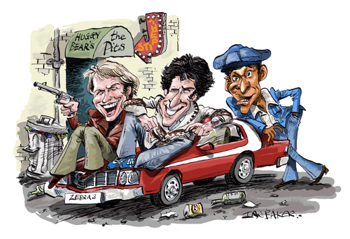 Cartoon: Starsky and Hutch (medium) by Ian Baker tagged starsky,and,butch,ian,baker,caricature,cartoon,tv,film,actors,seventies,70s,cops,paul,michael,glaser,david,soul,antonio,fargas,los,angeles,america,artwork,celebrity,action,police