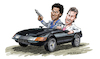 Cartoon: Crockett and Tubbs (small) by Ian Baker tagged crockett,tubbs,miami,vice,don,johnson,phillip,michael,thomas,cops,tv,ferrari,action,80s,eighties,fashion,ian,baker,cartoon,caricature,famous,daytona,gun