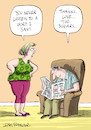 Cartoon: Greeting card (small) by Ian Baker tagged ian,baker,cartoon,illustration,gag,greeting,card,paperlink,couple,newspaper,argue,listen,marriage