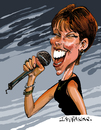 Cartoon: Pat Benatar (small) by Ian Baker tagged pat,benatar,rock,singer,pop,music,musician,vocalist,80s,eighties,jazz,female,microphone,caricature
