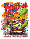 Cartoon: Ub Muspa Gaa (small) by Ian Baker tagged ub,muspa,gaa,alien,space,martian,et,sci,fi,band,gig,poster,psychadelic,guitar,planet,outlaws,of,the,universe