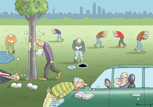 Cartoon: BÜCHERZOMBIES IN FRANKFURT (medium) by marian kamensky tagged buchmesse,frankfurt,buchmesse,frankfurt