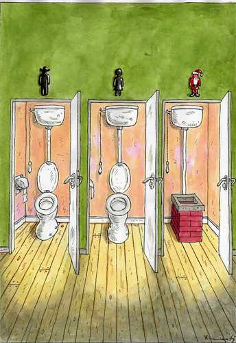 Cartoon: Santa Closet (medium) by marian kamensky tagged humor,toilette,wc,bad,klo,pinkeln,urinieren,weihnachtsmann,weihnachten,kamin