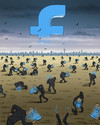 Cartoon: Blue World of Facebook (small) by marian kamensky tagged facebook,soziale,netztwerke,internet,zuckerberg,erstre,hilfe,abhämgigkeit,drogen