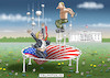 Cartoon: TRAMPOLIN (small) by marian kamensky tagged obama,trump,präsidentenwahlen,usa,baba,vanga,republikaner,inauguration,demokraten,fbi,james,comey,wikileaks,faschismus