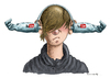 Cartoon: You Tube Boy (small) by marian kamensky tagged you,tube,ohrwürmer,musik,music,commerz,verbraucherschutz,konsum