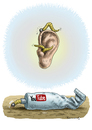 Cartoon: YouTube (small) by marian kamensky tagged you,tube,ohrwürmer,musik,music,commerz,verbraucherschutz,konsum