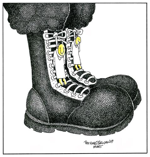 Cartoon postal medium by mehmet selcuk tagged military boots