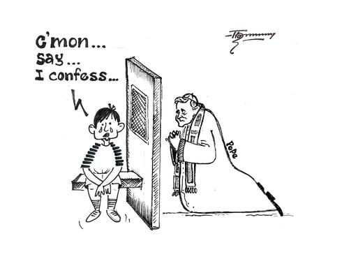 Cartoon: The Ultimate Confession (medium) by Thommy tagged pope,child,abuse,catholic,church