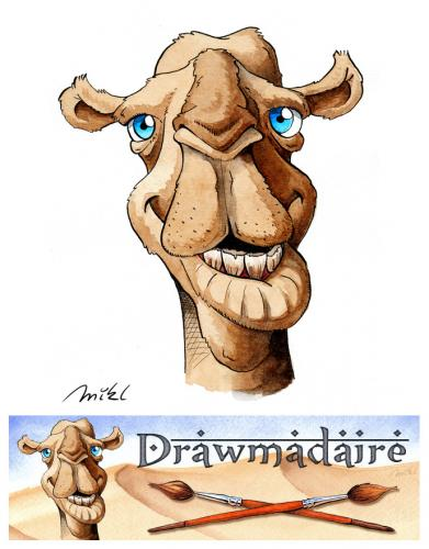 Cartoon: Drawmadaire (medium) by Mikl tagged mikl,michael,olivier,miklart,art,illustration,painting,drawmadaire,dromedary,banner