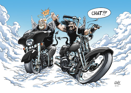 Cartoon: Teebo and Coyote in Heaven (medium) by Mikl tagged michael,mikl,olivier,miklart,illustration,bikes,biker,heaven,paradise,beard,coyote,teebo,play,game,harley,davidson,streetglide,softail