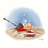 Cartoon: Bye Bye Cupidon (small) by Mikl tagged mikl,michael,olivier,miklart,art,illustration,painting,cupidon,angel,hammer,kill