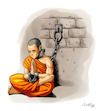Cartoon: Free Tibet (small) by Mikl tagged mikl,michael,olivier,miklart,illustration,art,tibet,monk,prisoner