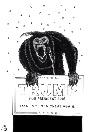 Cartoon: Howler Monkey (medium) by paolo lombardi tagged usa