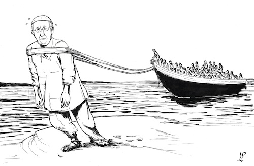 Cartoon: Pope and migrants (medium) by paolo lombardi tagged migrants,pope