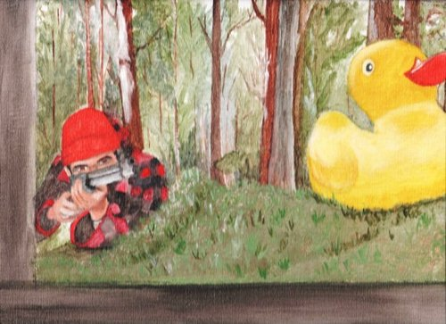 Cartoon: Funny Hunter! (medium) by Krinisty tagged hunting,rubberduck,hunter,watercolor,painting,funny,woods,nature,joke,gun
