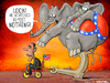 Cartoon: Look! He achieved almost NOTHING (small) by Vanmol tagged obama,elections,usa,president,america,republicans,democrats,elephant