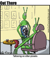 Cartoon: alien tattoos (small) by George tagged alien tattoos