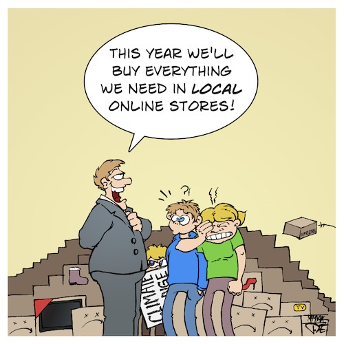 Cartoon: Local Online Store (medium) by Timo Essner tagged online,stores,bying,consumption,logistics,trucks,roads,streets,car,jams,emissions,gas,gasoline,co2,diesel,energy,environment,climate,cartoon,timo,essner,online,stores,bying,consumption,logistics,trucks,roads,streets,car,jams,emissions,gas,gasoline,co2,diesel,energy,environment,climate,cartoon,timo,essner