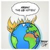 Cartoon: US have voted (small) by Timo Essner tagged us,usa,elections,election,day,vote,donald,trump,drumpf,hillary,rodham,clinton,world,earth,on,fire,cartoon,timo,essner