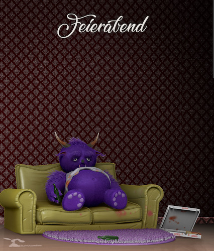 Cartoon: Feierabend (medium) by Rüsselhase tagged feierabend,monster,bier,couch