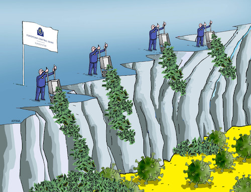 Cartoon: ecbboj (medium) by kotrha tagged ecb,euro,dollar,libra,coronavirus