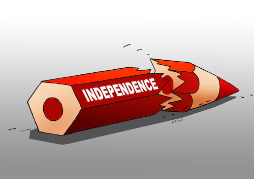 Cartoon: indepencil (medium) by kotrha tagged catalonia,independence,spain,europa,barcelona,madrid