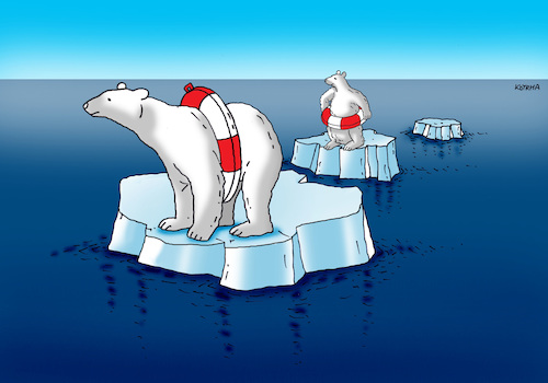 Cartoon: ladomedved-far (medium) by kotrha tagged earth,climate,changes,warming,melting,glaciers