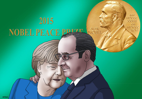 Cartoon: nobelpeace (medium) by kotrha tagged world,germany,merkel,prize,peace,nobel,refugees