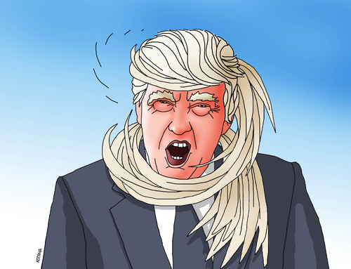 Cartoon: trumphair (medium) by kotrha tagged donald,trump,usa,president,election,white,house