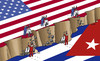 Cartoon: kubausa (small) by kotrha tagged usa,embargo,cuba,world,crisis,peace,war
