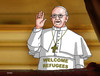 Cartoon: papwelcome (small) by kotrha tagged refugees,europe,afrika,germany,merkel,world,papst,pope