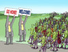 Cartoon: welcomegohome (small) by kotrha tagged refugees,europe,afrika,germany,merkel,world