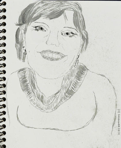 Cartoon: Female Portrait (medium) by zeichenstift tagged pencil,drawing,portrait,porträt,happy,girl,woman,beauty,face