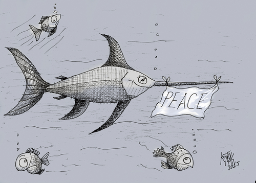 Cartoon: peace (medium) by kotbas tagged animals,swordfish,sea,goodwill,peace,fish