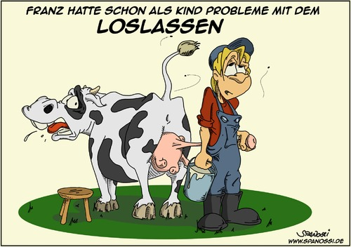 Cartoon: Loslassen (medium) by Spanossi tagged kuh,kühe,bauer,loslassen,euter