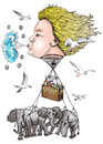 Cartoon: A windy trip (small) by javierhammad tagged illustration,ballon,travel,elephant,vacation,surreal,wind,air
