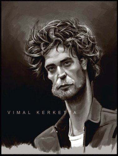 Cartoon: Caricature-Robert pattinson (medium) by vim_kerk tagged robert,pattinson,saga,twilight,full,moon,eclipse