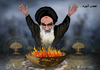 Cartoon: Iranian nuclear weapons (small) by almosihij tagged khomeini,iran,war,terrorism,the,middle,east,nuclear,weapons,crimes