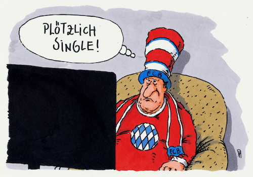 Cartoon: bayernfrust (medium) by Andreas Prüstel tagged pokalaus,fc,bayern,münchen,borussia,dortmunf,triple,doppel,single,cartoon,karikatur,andreas,pruestel,pokalaus,fc,bayern,münchen,borussia,dortmunf,triple,doppel,single,cartoon,karikatur,andreas,pruestel