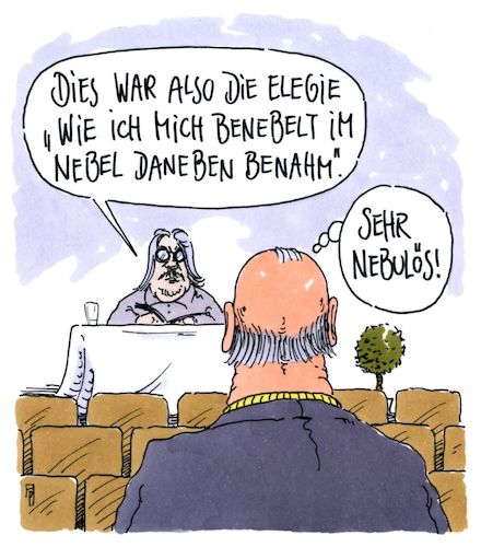 Cartoon: elegie (medium) by Andreas Prüstel tagged lesung,autor,schriftsteller,lyriker,elegie,nebulös,cartoon,karikatur,andreas,pruestel,lesung,autor,schriftsteller,lyriker,elegie,nebulös,cartoon,karikatur,andreas,pruestel