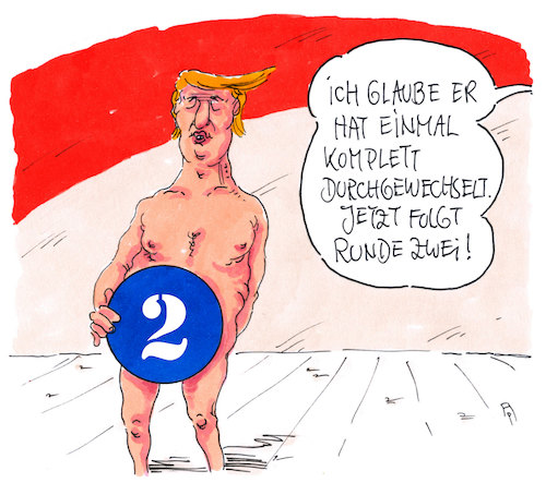 Cartoon: runde zwei (medium) by Andreas Prüstel tagged usa,trump,kabinett,ministerwechsel,cartoon,karikatur,andreas,pruestel,usa,trump,kabinett,ministerwechsel,cartoon,karikatur,andreas,pruestel