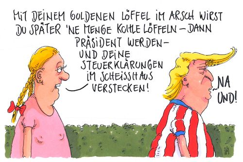 Cartoon: vorausage (medium) by Andreas Prüstel tagged trump,steuererklärungen,goldener,löffel,cartoon,karikatur,andreas,pruestel,trump,steuererklärungen,goldener,löffel,cartoon,karikatur,andreas,pruestel