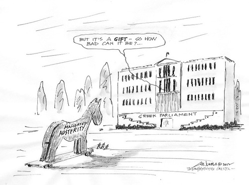 Cartoon: Greek austeruty (medium) by Mike Dater tagged greece,dater,mike