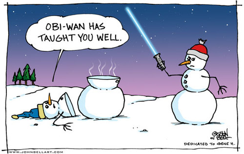 Cartoon: Light Saber (medium) by JohnBellArt tagged snowman,light,saber,cut,slice,funny,cartoon,obi,wan