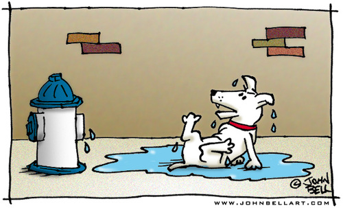 Cartoon: Revenge (medium) by JohnBellArt tagged dog,urinate,fire,hydrant,revenge,squirt,spray,paybacks
