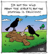 Cartoon: Stuffing (small) by JohnBellArt tagged teddy,bear,stuffing,road,kill,crow,carrion,eat,dead,toy,devour,doll